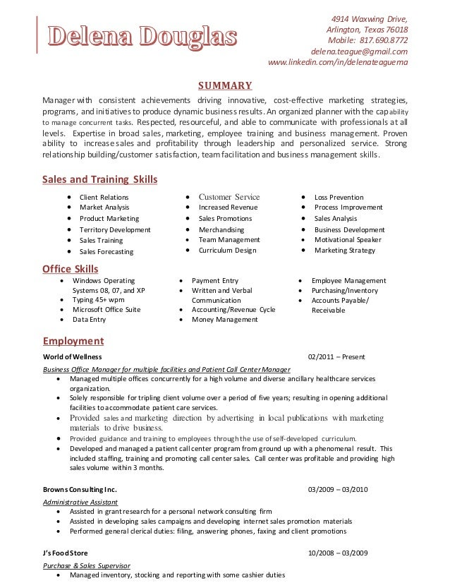 Sales trainer resume