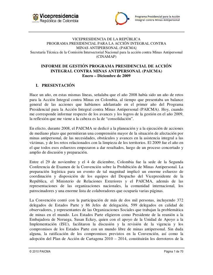 VICEPRESIDENCIA DE LA REPÚBLICA            PROGRAMA PRESIDENCIAL PARA LA ACCIÓN INTEGRAL CONTRA                           ...