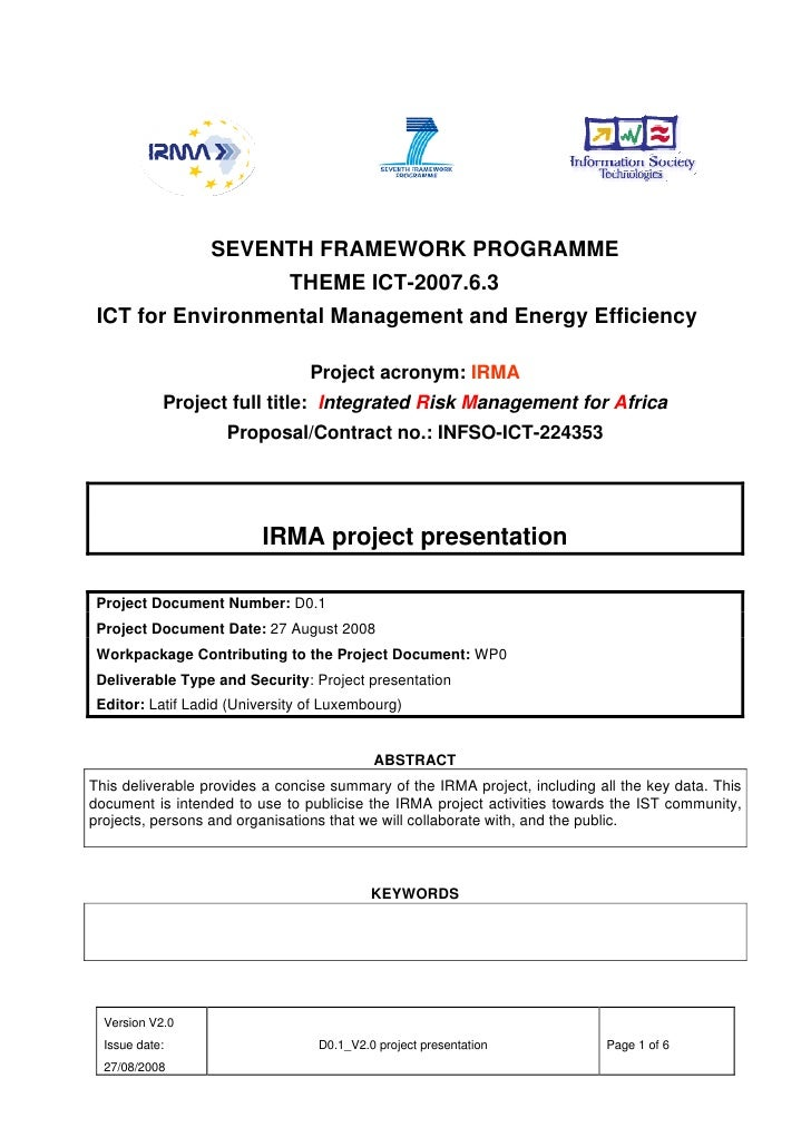 SEVENTH FRAMEWORK PROGRAMME                               THEME ICT-2007.6.3  ICT for Environmental Management and Energy ...