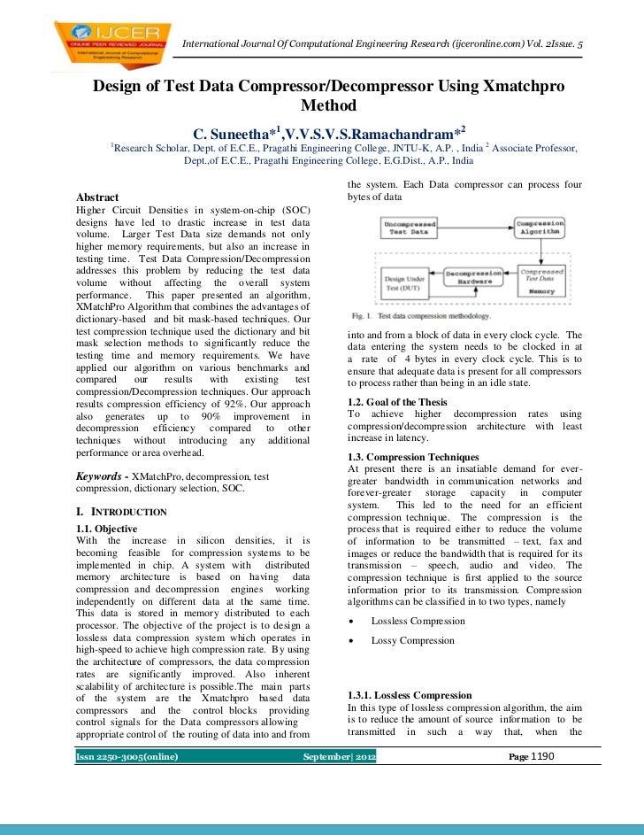 International Journal Of Computational Engineering Research (ijceronline.com) Vol. 2Issue. 5    Design of Test Data Compre...