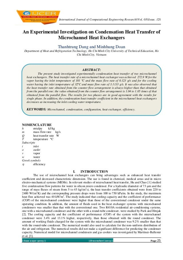 International Journal of Computational Engineering Research||Vol, 03||Issue, 12||  An Experimental Investigation on Conden...