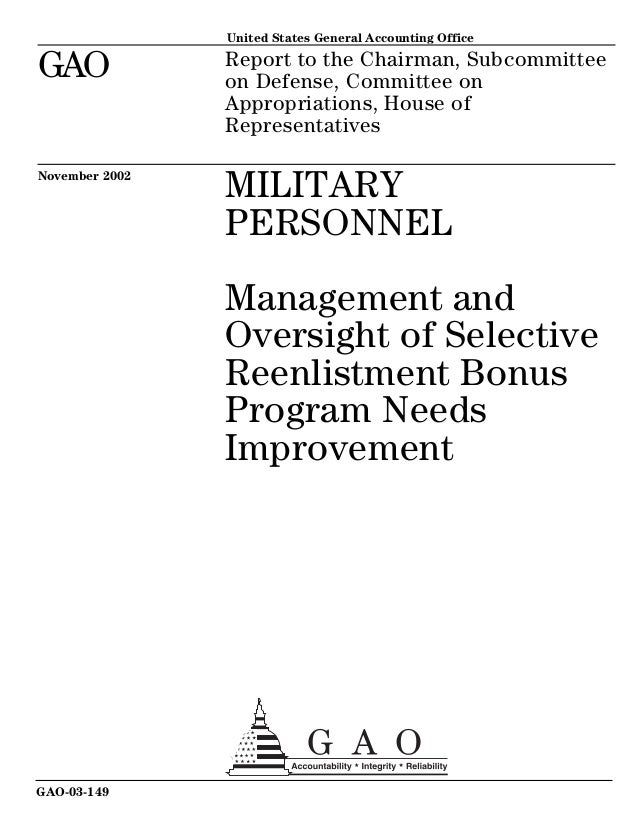Report to the Chairman, Subcommittee on Defense, Committee on Appropriations, House of Representatives United States Gener...