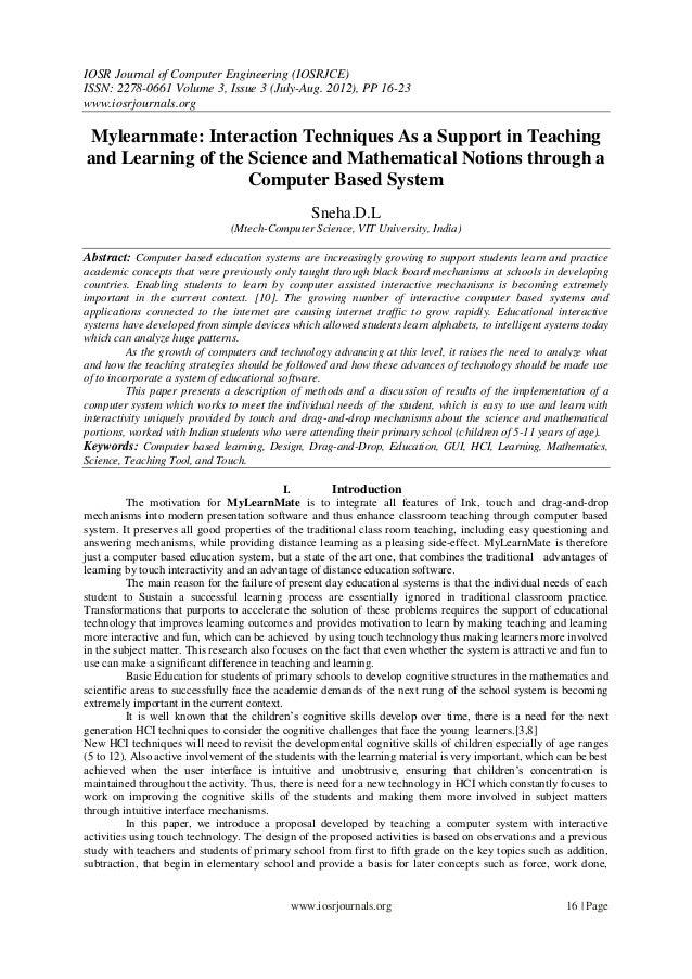 IOSR Journal of Computer Engineering (IOSRJCE) ISSN: 2278-0661 Volume 3, Issue 3 (July-Aug. 2012), PP 16-23 www.iosrjourna...