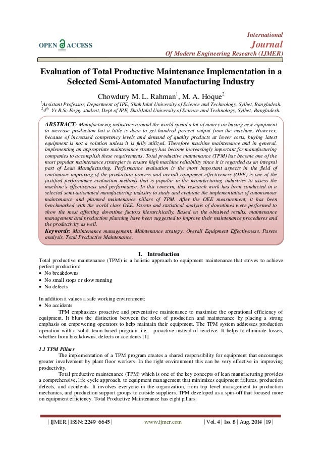 a study of total productive maintenance implementation The arthur study about total productive maintenance: a case  the systematic procedure to implementation of total productive maintenance step by step according to.