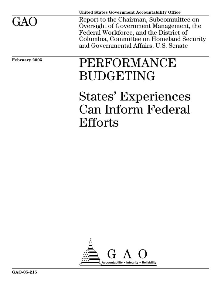 GAO-05-215  PERFORMANCE Budgeting in States