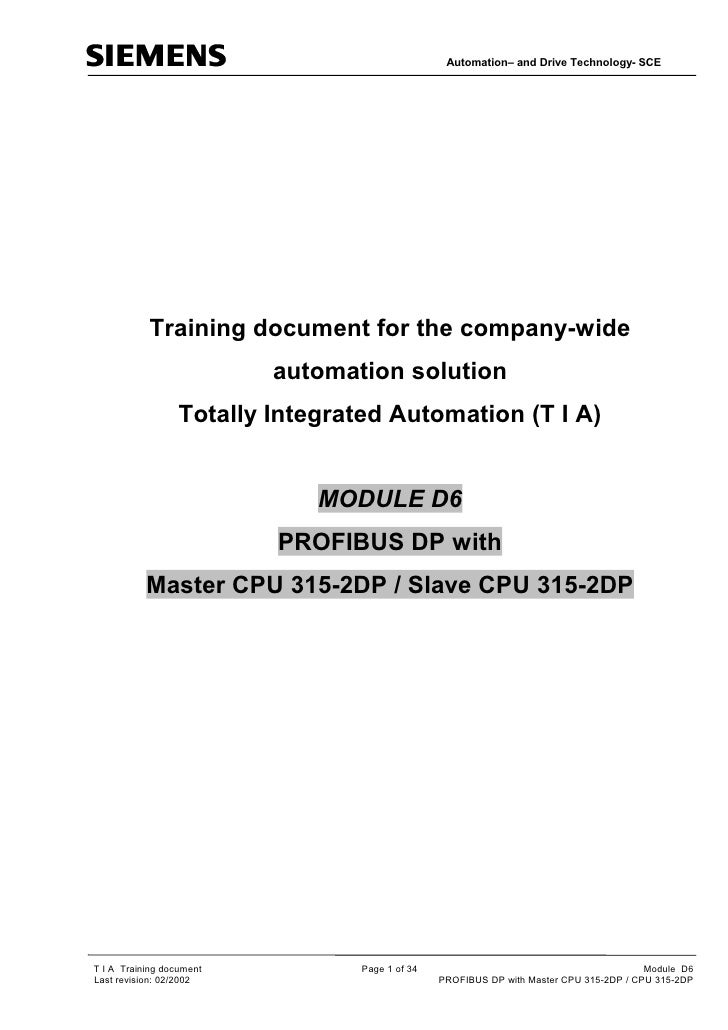 Automation– and Drive Technology- SCE           Training document for the company-wide                          automation...