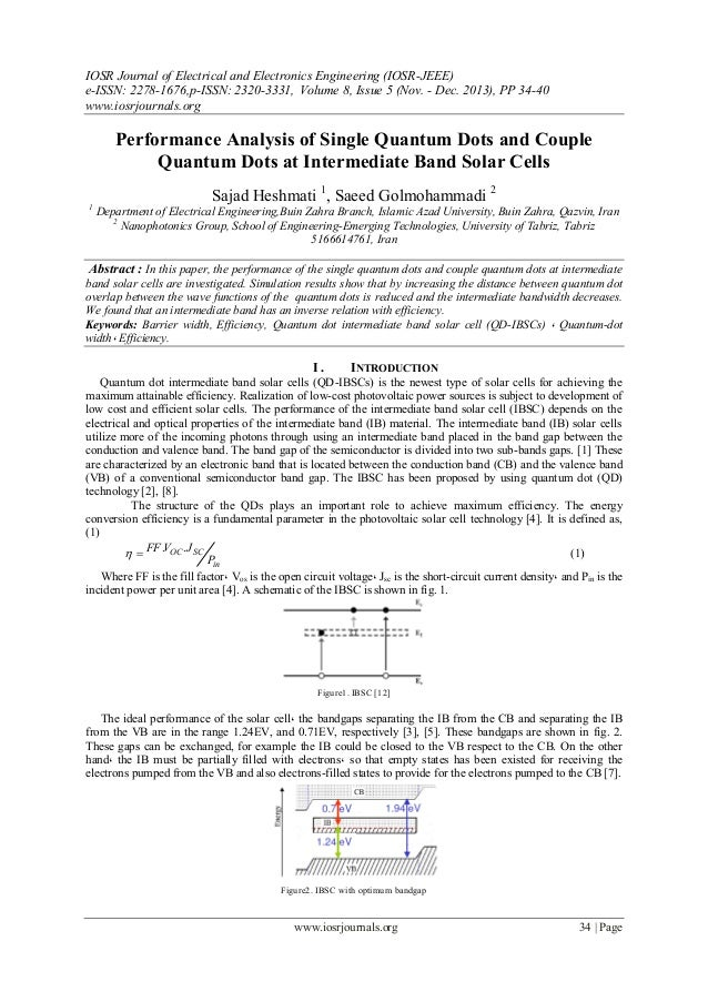 Performance Analysis of Single Quantum Dots and Couple Quantum Dots at Intermediate Band Solar Cells