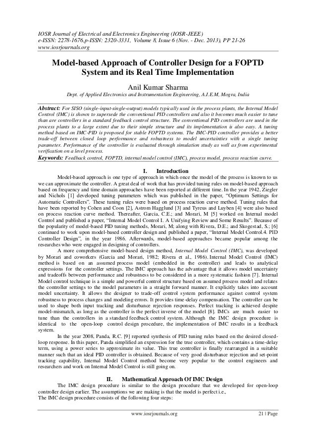 Model-based Approach of Controller Design for a FOPTD System and its Real Time Implementation