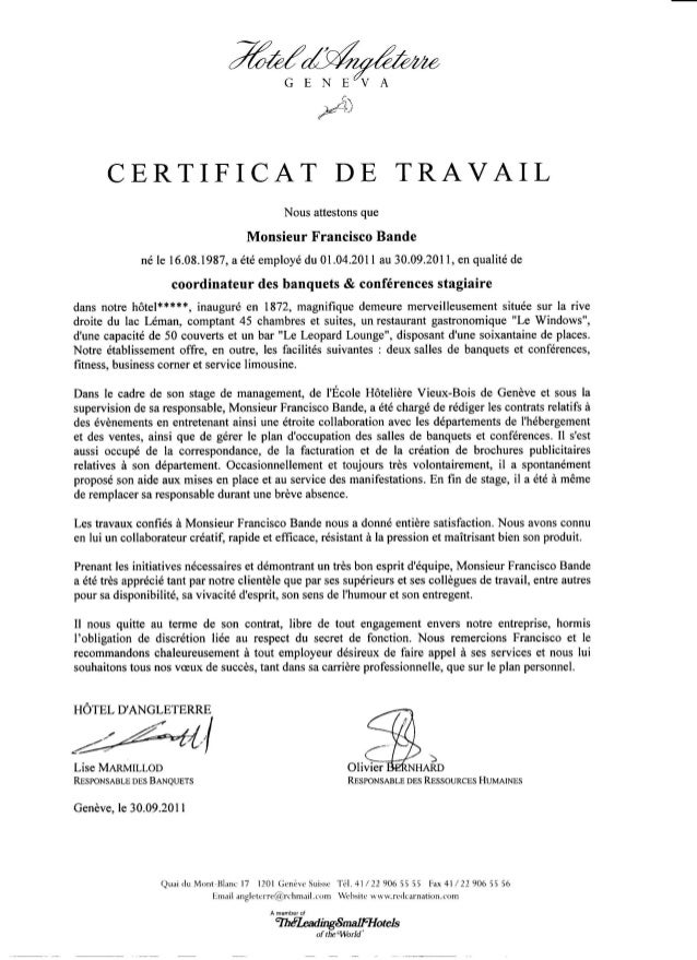 Modele Certificat De Travail Geneve