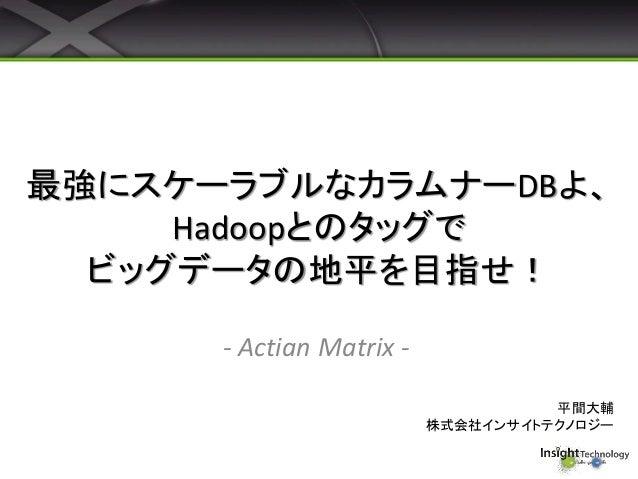 最強にスケーラブルなカラムナーDBよ、 Hadoopとのタッグで ビッグデータの地平を目指せ! - Actian Matrix - 平間大輔 株式会社インサイトテクノロジー