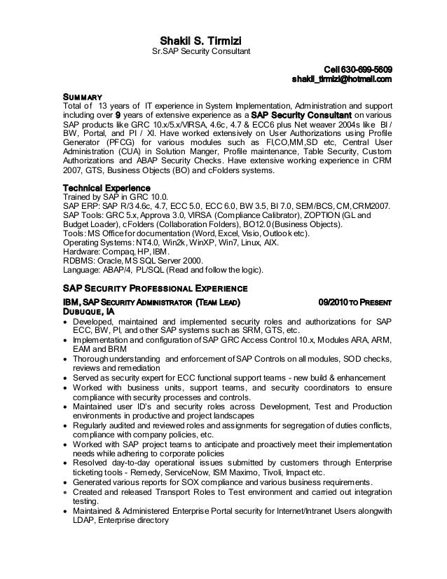 Security Consultant Resume For Sap Security Consultant