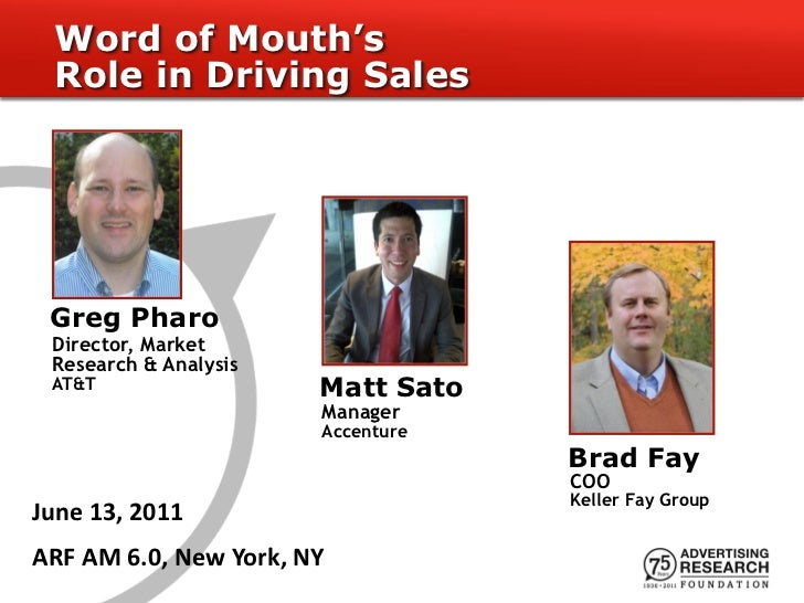 Word of Mouth's Role in Driving Sales Greg Pharo Director, Market Research & Analysis AT&T                  Matt Sato     ...