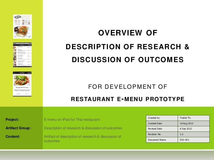 OVERVIEW OF                                DESCRIPTION OF RESEARCH &                                    DISCUSSION OF OUTC...