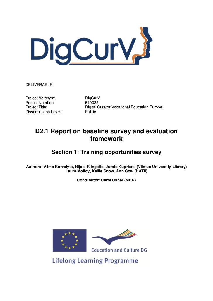 DigCurV 2 of 4. Training opportunities survey. Report on baseline survey and evaluation framework