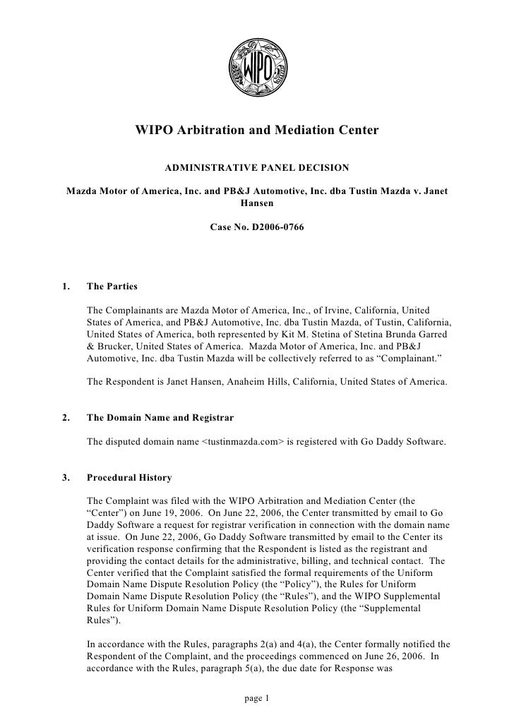 WIPO Arbitration and Mediation Center                          ADMINISTRATIVE PANEL DECISION   Mazda Motor of America, Inc...