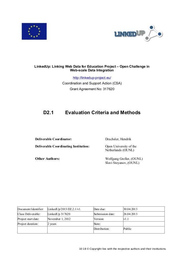 D2.1 Evaluation Criteria and Methods