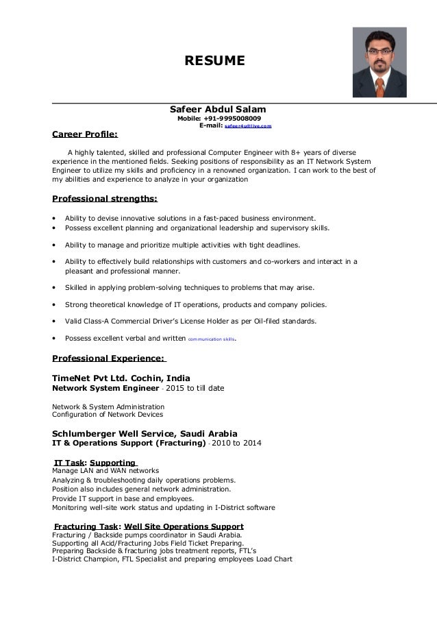 Network System Engineer Updated Resume