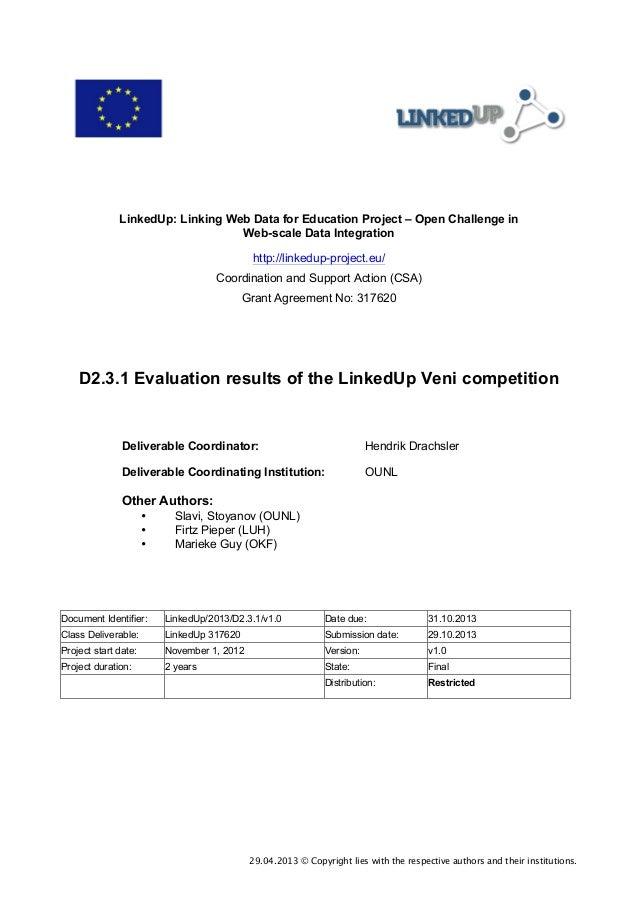 D2.3.1 Evaluation results of the LinkedUp Veni competition