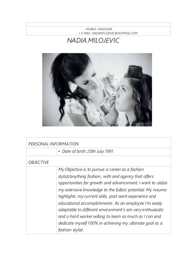 my new resume my new resume   mobile   • e mail  nadiamilojevic hotmail com nadia