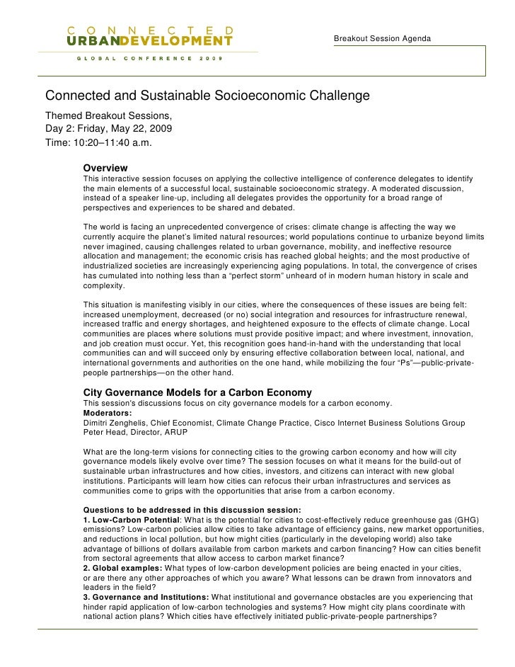 Breakout Session Agenda     Connected and Sustainable Socioeconomic Challenge Themed Breakout Sessions, Day 2: Friday, May...