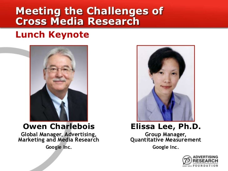 Meeting the Challenges ofCross Media ResearchLunch Keynote Owen Charlebois                Elissa Lee, Ph.D. Global Manager...