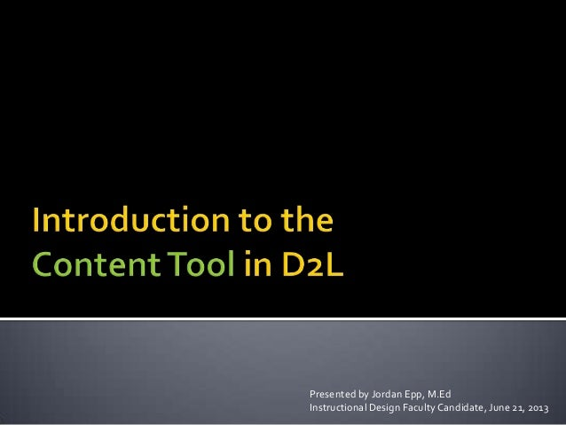 Introduction to the Content Tool in D2L
