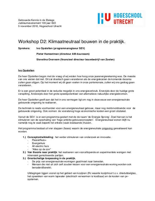 Verslag Workshop D2- Klimaatneutraal bouwen in de praktijk