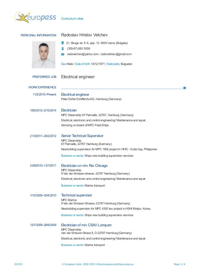 europass cv 20150715 velchev electrical engineer