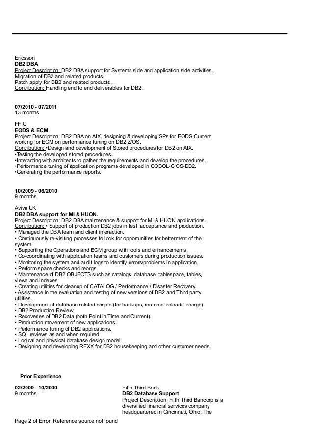 Mainframe Db Dba Resume Sample