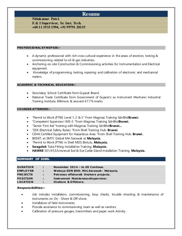 Instrument technician resume examples