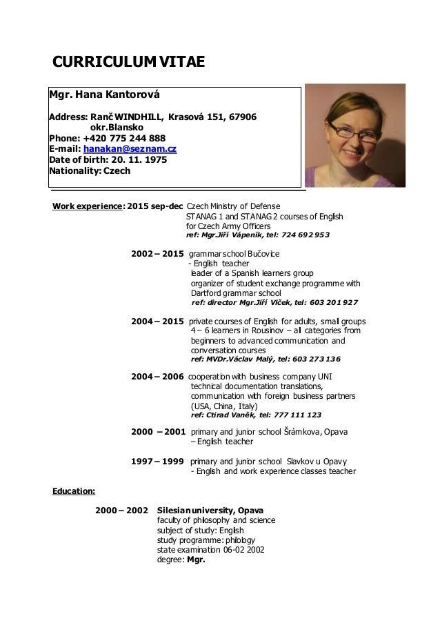 Resume Format English