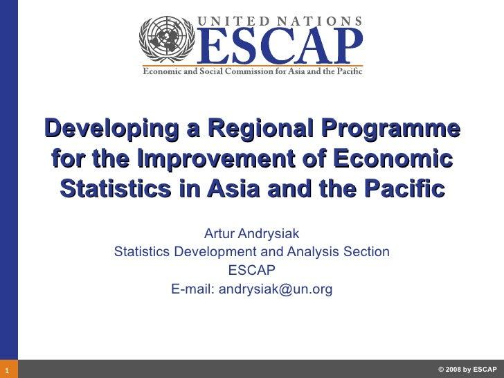 D3, escap regional programme and core set of economic statistics 090310