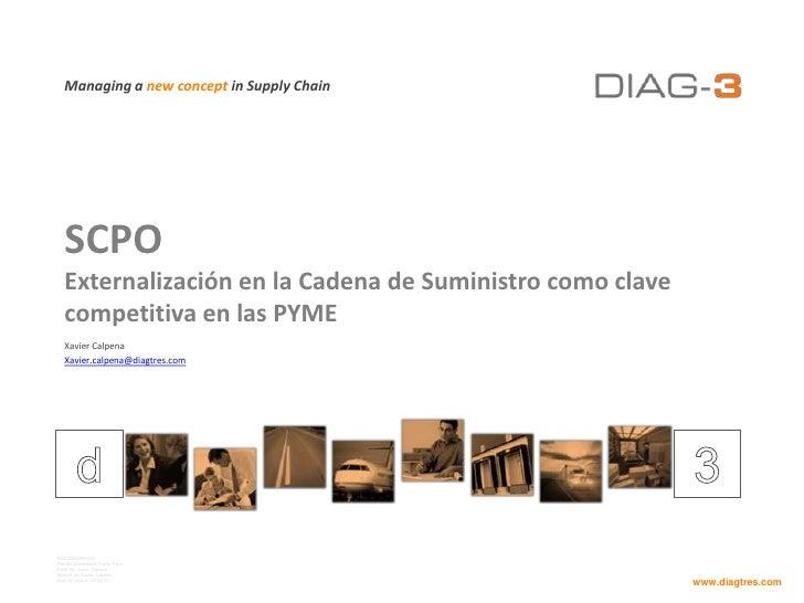 SCPOExternalización en la Cadena de Suministro como clave competitiva en las PYME<br />Xavier Calpena<br />Xavier.calpena@...
