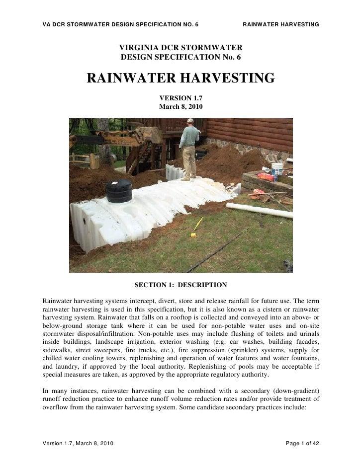 Rainwater Harvesting:  DCR Stormwater Design Specification - Virgina