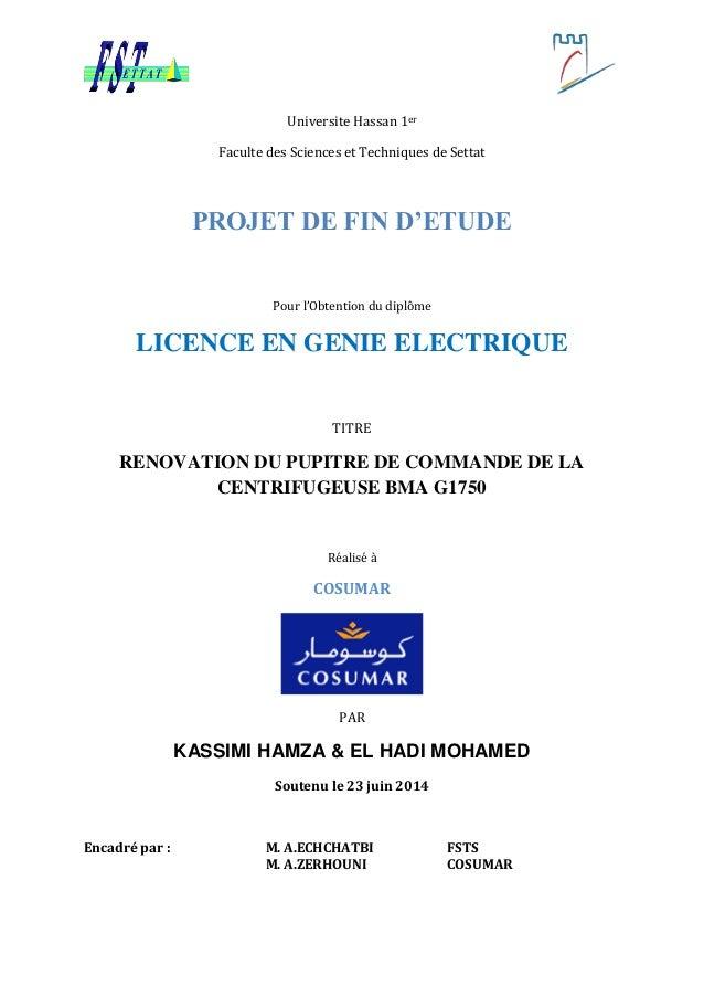Universite Hassan 1er Faculte des Sciences et Techniques de Settat PROJET DE FIN D'ETUDE Pour l'Obtention du diplôme LICEN...
