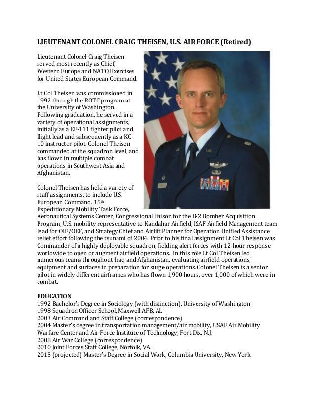 LIEUTENANT COLONEL CRAIG THEISEN, U.S. AIR FORCE (Retired) Lieutenant ...