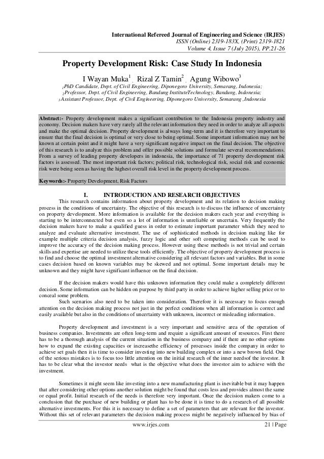 Property Development Risks : Property development risk case study in indonesia