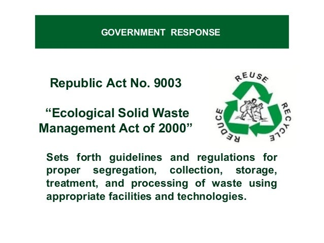 waste management and environmental bodies Environmental, health, and safety (ehs) guidelines general ehs guidelines: environmental waste management april 30, 2007 47 world bank group • where waste can not be recovered or reused, treating.