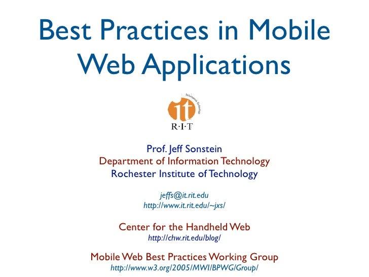 Mobile Web Apps Best Practices Presentation at Design4Mobile 2009