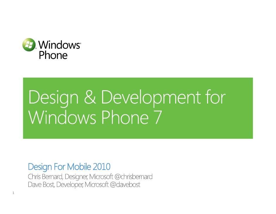 Design For Mobile 2010 Windwos Phone 7