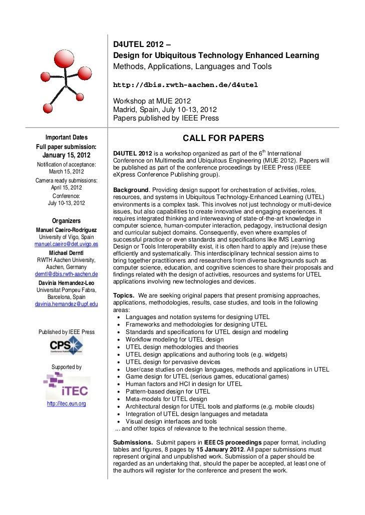 D4UTEL 2012 –  Design for Ubiquitous Technology Enhanced Learning