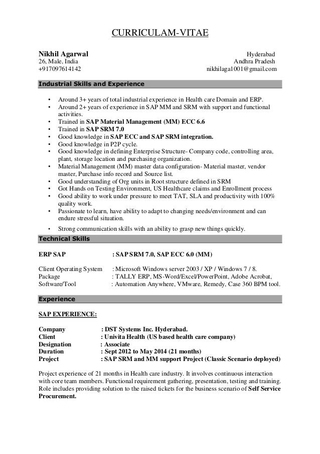 Sap Trainer Resume Choice Image Resume Format Examples 2018