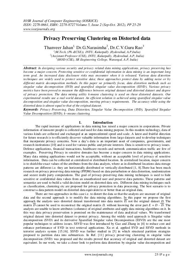 IOSR Journal of Computer Engineering (IOSRJCE) ISSN: 2278-0661, ISBN: 2278-8727 Volume 5, Issue 2 (Sep-Oct. 2012), PP 25-2...