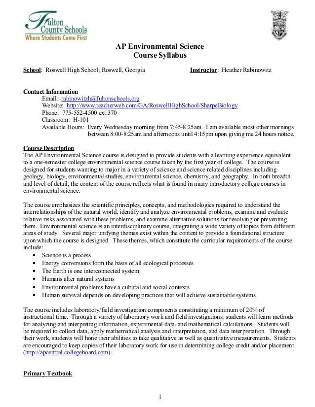 Ap environmental science sample essay