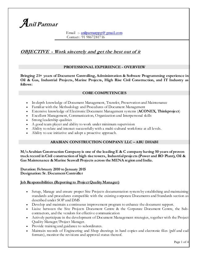 Document Controller Construction Cover Letter