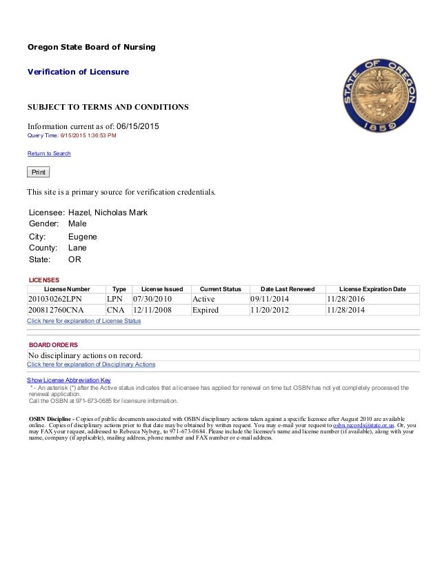 Pa board of nursing verification of license