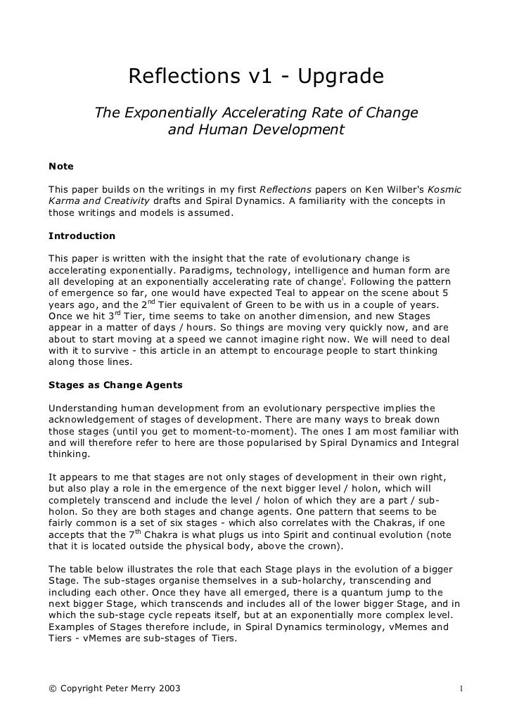 Reflections v1 - Upgrade         The Exponentially Accelerating Rate of Change                  and Human DevelopmentNoteT...