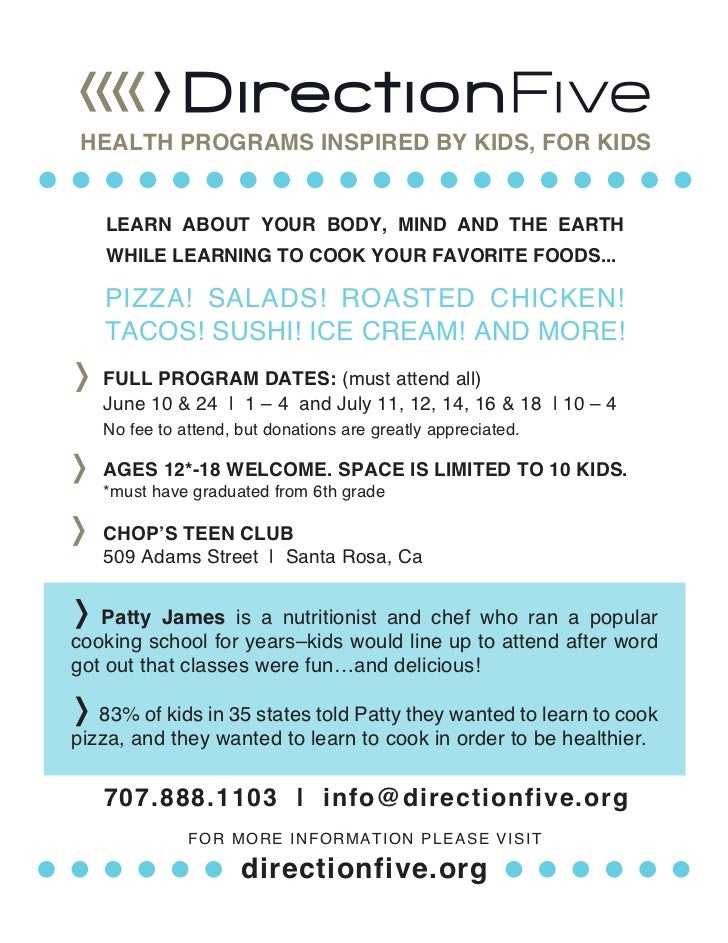 HEALTH PROGRAMS INSPIRED BY KIDS, FOR KIDS   LEARN ABOUT YOUR BODY, MIND AND THE EARTH   WHILE LEARNING TO COOK YOUR FAVOR...