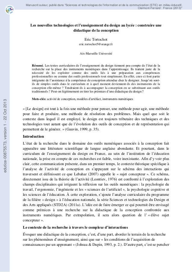 """Manuscrit auteur, publié dans """"Sciences et technologies de l'information et de la communication (STIC) en milieu éducatif,..."""