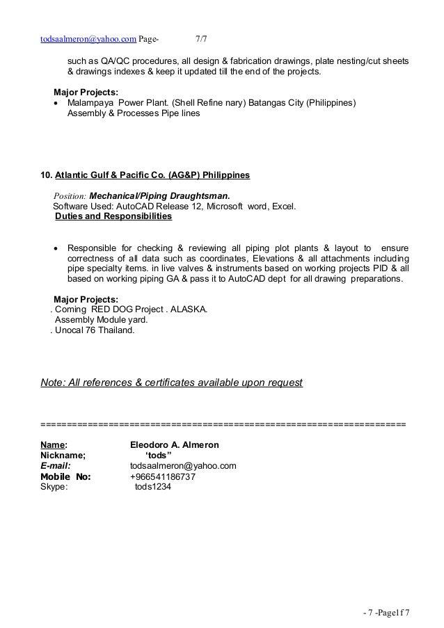 Resume cover letter for piping designer